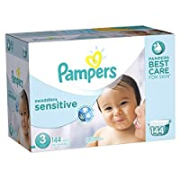 Pampers Swaddlers Sensitive Diapers Size 3 Economy Pack Plus 144 Count by Pampers