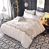 ホワイト 米式 ファションゴージャス レース寝具カバーセット 掛け布団カバー 枕カバー 2点セット 民族風花柄 シングル 画像