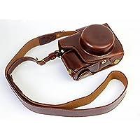 オリンパス OM-D E-M10 Mark II OM D E M10 Mark II 14-42mm カメラケース、koowl 手で作った最高級のpu革の全身カメラ保護殻、OLYMPUS OM-D E-M10 Mark II OM D E M10 Mark II ケース(14-42mmのレンズに適用)向けの透かし彫りベース+ショルダーストラップ、防水、防振、携帯型 (コーヒー色)