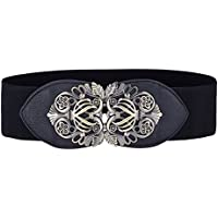 GRACE KARIN Fashion Women Stretchy Retro Metal Hook Wide Waist Belt