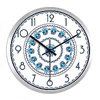 18-AnyzhanTrade 壁掛け時計サイレントムーブメント壁掛け時計ホームオフィス用インテリアリビングルームベッドルームとキッチン時計の壁レトロミュートレストランクリエイティブウォールクロックウォールテーブルマウント電子クォーツ時計 (Color : Ch287 Black-silver Wire Box, サイズ : 14 In)