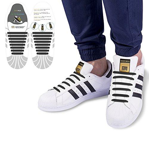 [SEEKWAY] 靴紐 結ばない ゴム 靴ひも 伸縮 靴紐 メンズ レディース用 ほとけない 靴ひも ほどけない 16pcs 10カラー NTS001 (ブラック)