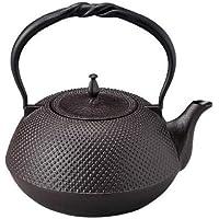 99-10 南部鉄器 鉄瓶 平型アラレ ひねりづる(茶) 1.6L