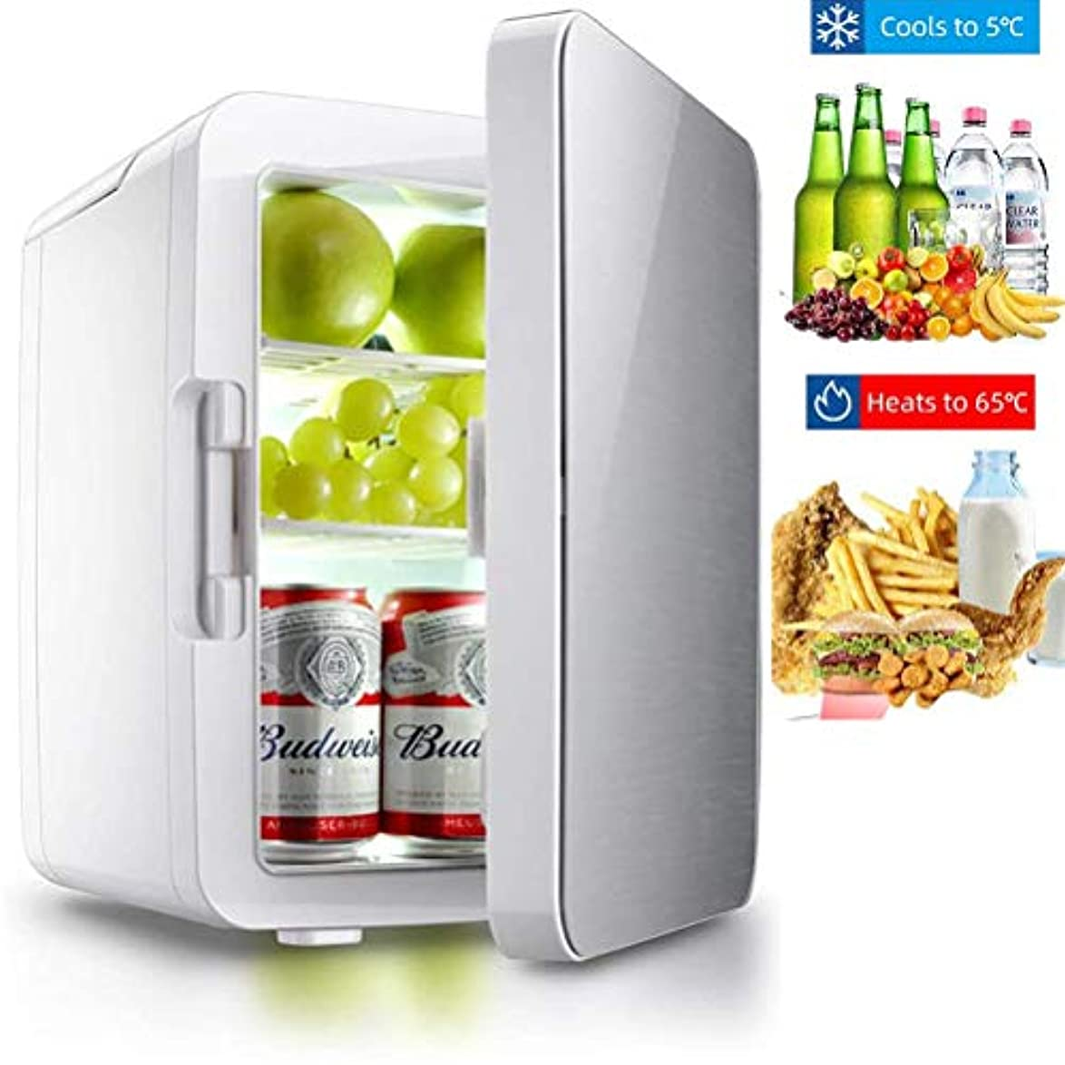 掃くもろい解明ミニ冷蔵庫、携帯型パーソナルカー冷蔵庫家庭用カーデュアルユース冷蔵庫飲料クーラー10リットルのコンパクトクーラーウォーマー冷蔵庫,銀