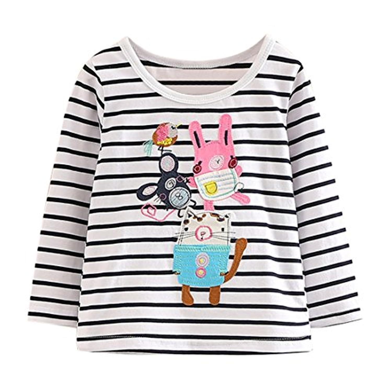 LittleSpring春 秋 キッズ 女の子 トレーナー 長袖 Tシャツ ボーダー カットソー 猫の柄 森ガール 子供服 ジュニア 快適 秋服