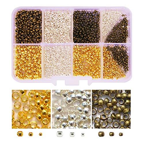 かしめ玉 カシメ玉 3色 3サイズセット 2.5mm 2mm 3mm 3色 約1800個 金具 アクセサリーパーツ ハンドメイド DIY用 手芸材料 手作り素材 つぶし玉セット