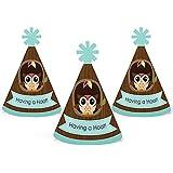 フクロウ – Look Whooo 's having a party – Mini円錐ベビーシャワーまたは誕生日パーティー帽子 – スモールLittle Party Hats – 10のセット