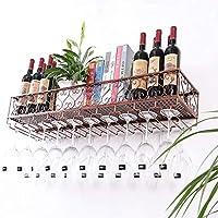 ワインホルダー ワインラック壁掛けワインラッククリエイティブワインラックゴブレットホルダーハンギングカップホルダー上下逆さまのカップホルダー ワインラック (色 : A, サイズ さいず : 60 * 25 * 17cm)