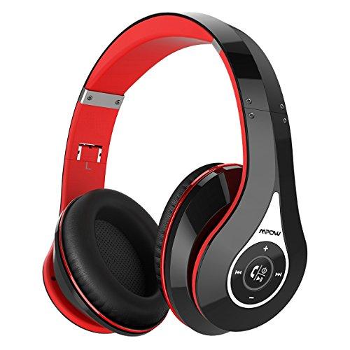 Mpow 密閉型 Bluetooth ヘッドホン 【赤黒灰緑青桃】6種色付き 高音質 20時間再生 折りたたみ式 ケーブル着脱式 バランス接続対応 リモコン ・ マイク付き ハンズフリー通話可能 レッド MPBH059AB