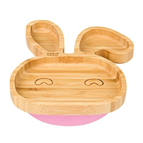 Baby Toddler Bunny Suction Plate, Stay Put Feeding Plate, Natural Bamboo (Pink)