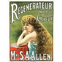 ADVERT MEDICINE SHAMPOO SUSAN ALLEN HAIR RESTORER FRANCE POSTER 30X40 CM 12X16 IN PRINT 広告アメリカ合衆国フランスポスター