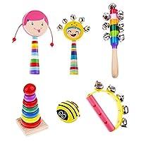Kesoto 全6種類 キッズ楽器 幼児音楽楽器おもちゃ 木製パーカッションセット - 6個