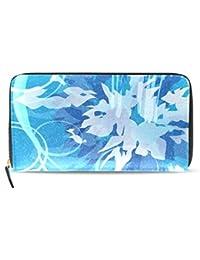 ユキオ(UKIO) 財布 メンズ 二つ折り 人気 大容量 薄い 小銭入れ 懐かしい和柄 金魚 青い ファスナー式 小銭入れ付 ロング ウォレット 高級PUレザー クラッチバッグ 大容量 カード12枚 プレゼント