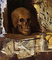 手書き-キャンバスの油絵 - 美術大学の先生直筆 - 静物 Skull and Waterjug ポール・セザンヌ 絵画 洋画 複製画 ウォールアートデコレーション -サイズ08