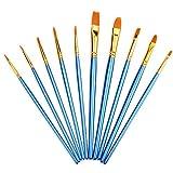 ATKT 10本 ペイントブラシ 筆 水彩画筆 油絵 美術用品 ナイロン アクリル 塗装用 キャンバス パレット 水性 画材筆 絵筆 芸術 (ブルー)