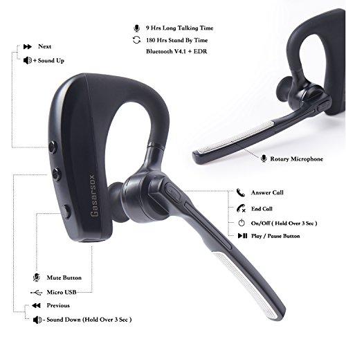 Bluetoothヘッドセット、Gasarsox K10 ハンズフリーインイヤーイヤーピース(ドライバー/ビジネス用,マイク付き9時間バッテリー、Android Phoneとペア設定 (キャリングケース含む)