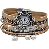 MINILUJIA Vintage Casual Women Leather Watch Feather Pearl Wish Tree 2 x Wrap Around Girl Watch Cuff Bangle with Magnetic Clasp