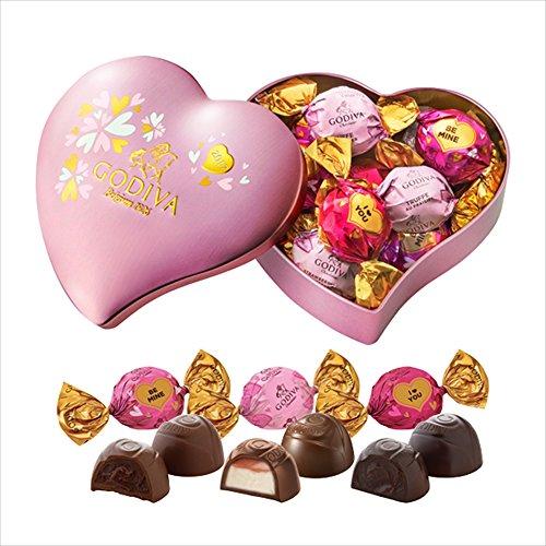 ゴディバ (GODIVA) ラッピングチョコレート ハート缶 10粒 -