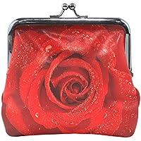 バララ(La Rose) 財布 がま口 小銭入れ レディース ブランド 和柄 かわいい PU 革 レザー 赤い レツド バラ 花柄 学生 ミニポーチ 財布 ポーチ 小物入れ コイン 鍵 カード収納 約幅11.5cmx10.5cm