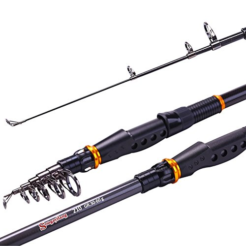 Sougayilang Telescopic Fishing Rod Graphite Carbon Fiber Portable Spinning Fishing Pole for Boat Surf Freshwater