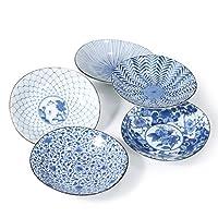 アンダーグレーズ色の西洋ステーキ料理、皿プレート青と白のプレートのカトラリー5パックセット