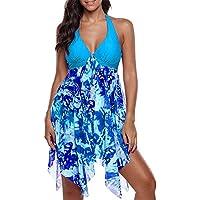 OUYAWEI 2pcs/Set Women Summer Fashion Sexy Deep V Dress + Shorts Swimsuit Bikini