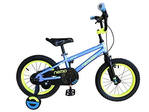 HITS(ヒッツ) Nemo 子供用 自転車 フロントキャリパーブレーキ リア バンドブレーキ 児童用 バイク 14インチ 16インチ ハンドブレーキモデル 男の子にも女の子にもぴったり 3歳 4歳 5歳 6歳 7歳 8歳 9歳(ブルー,16インチ)