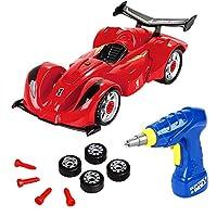 おもちゃの車、3歳用のおもちゃ男の子&4歳の男の子用ギフト、分解するToy Car Racing-3Dリアルなサウンドとライトを組み合わせたバラバラにする(赤), red