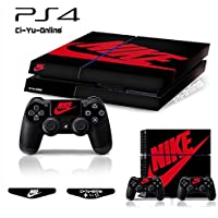 Ci-Yu-Online VINYL SKIN [PS4] Whole Body VINYL SKIN STICKER DECAL COVER Nike Air Jordan 1 Retro Black Red Logo Shoe Box for PS4 Playstation 4 System Console and Controllers [並行輸入品]