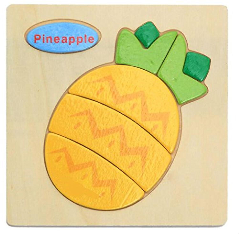HuaQingPiJu-JP ブランドの新しい木製の教育的なパズルアーリーラーニングの数字の形の色の動物のおもちゃ子供のための素晴らしいギフト(パイナップル)