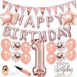 ローズゴールド誕生日 1歳 女の子 華やか キラキラ ベビーシャワー 100日 シャンパン色 紙吹雪入れバルーン ケーキトッパー ガーランド スター 24個