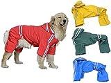 (エムズダイス)M's Dice 大型 中型 犬 用 レインコート 雨具 カッパ 《4カラー3サイズ》 (07.レッド 3XL)