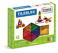 Magformers tilebloxレインボー30pc-with磁気アクティビティBoard building-and-stacking-toys ( 30ピース)