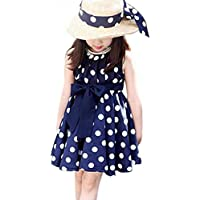 EFINNY Little Girls' Polka Dot Chiffon Dress Bowknot Belt Tunic Sundress