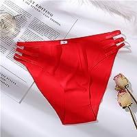HXIANG セクシーなブリーフ女の子の女性のパンツのためのシームレスなパンティー女性の下着パンティーソリッドソフトランジェリーワンピースソリッドカラー (色 : 赤, サイズ : 1pc)
