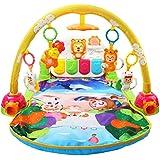Toyvian 生まれたばかりの赤ちゃんのための音楽ジムマットフィットネスフレーム早期教育活動玩具(黄色、電池なし、中国語音楽)