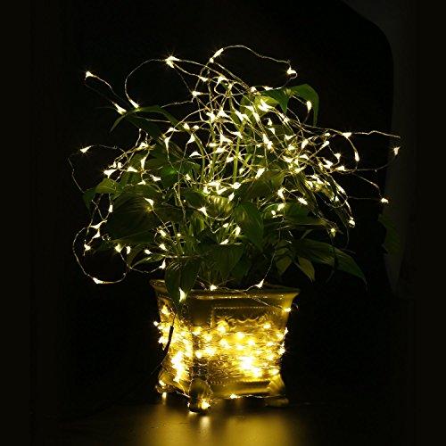 TOPLIFE イルミネーションライト 10メートル 100 LED電球 電池式 LED ライト リモコン付き 室外 装飾 結婚式 パーティー ライト 正月 バレンタインデー クリスマス 飾り 電飾 (ウォームホワイト)