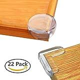 コーナークッション SANSEA 22個セット(L型11個、丸型11個)コーナーガード 赤ちゃん 子供ケガ防止 机 テーブル 戸棚 家具の角を保護して 両面テープ付き 透明 クリア