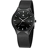 Wwoor Men Steel Mesh Quartz Date Watches Ultra Thin Black B