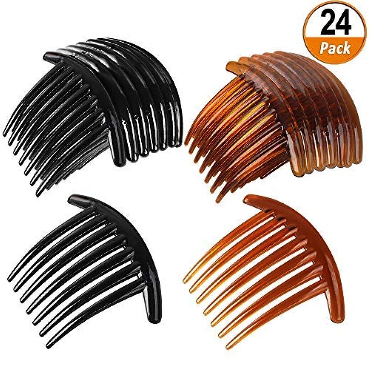滑りやすい誠実才能24 PCS 7 Tooth French Twist Comb Plastic Hair Clip Hair Side Combs Hair Accessory for Women Girls (Black and Brown...