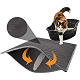 Cat Litter Box Mat Litter Double-Layer Design Waterproof Urine Proof Material, Easy Clean and Floor Carpet Protection Best Scatter Control Easy to Clean, Soft on Paws Cat Tray Mat (Large)
