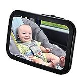 Qtop 車用 ベビーミラー インサイトミラー アクリル鏡面 広くてクリアな視界(サイズ:300×190mm) 360度角度調整可能 子供の安全を常に見守る 補助ミラー-ブラック
