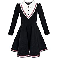 Girls Dress School Uniform White Collar Long Sleeve Striped Size 4-12 Years