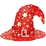 HuaQingPiJu-JP ベンドキャップハロウィーン装飾5ポイントスターパターン魔女Hat_Red