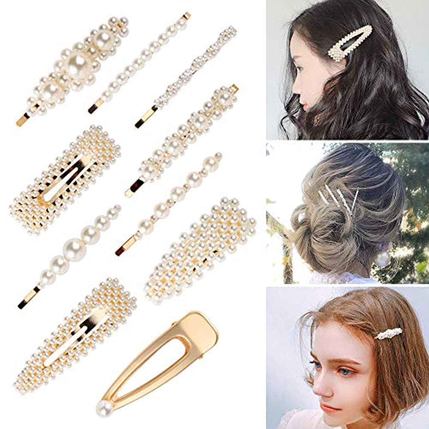 布ブラシレギュラーパール ヘアクリップ ヘアピン ヘアアクセサリー 髪留め 髪飾り 結婚式 卒業式 入学式 パーティ レディース ゴールド 10本セット