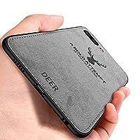iPhone 7 Plus ケース, CHENXI 鹿の頭の模様 電話ケース マッチングデニムキャンバスPC + PU + TPU 二重構造強力 耐震ケース 衝撃防止 滑り止 全面保護 カバー ために iPhone 7 Plus/iPhone 8 Plus - グレー