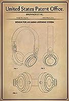 BlechschilderWeld Metal Sign with Patent Patent with Headphones Brunner Metal Sign