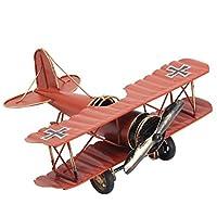 URAQT 復古飛行機 モデル ドイツ 双翼飛行機 レトロ飛行機 モデル 飛行機模型 装飾 飾り 置物 インテリア おもちゃ 雑貨 復古  お洒落(赤)