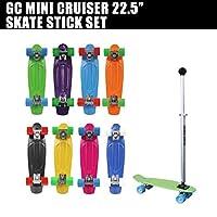 GC ミニクルーザー&スケートスティックセット GC MINICRUISER SKATE STICK SET グリーン (コンプリート スケボー SK8)