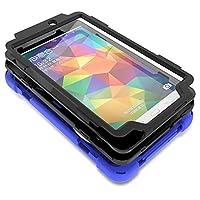 タブレット ケース Samsung Galaxy Tab E 8.0 SM-T377 SM-T375用 三層 ハイブリッド 耐衝撃性 ケース 360度回 転式 キック スタンド付き、 調節可能 ハンド ストラップ SM-T377/T375 オレンジ